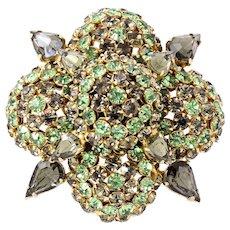 Warner Green and Black Diamond Rhinestone Pin/Brooch