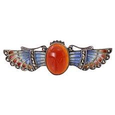 Egyptian Revival Plique-a-Jour Enamel Carnelian Scarab Sterling Pin/Brooch