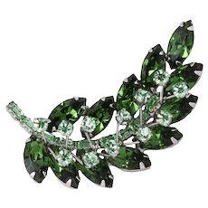 Vibrant Green Rhinestone Leaf Pin/Brooch