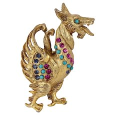 Vendome Rhinestone Mythical Creature Pin/Brooch
