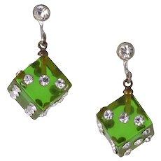 Vintage Green Prystal Bakelite and Rhinestone Dice Earrings