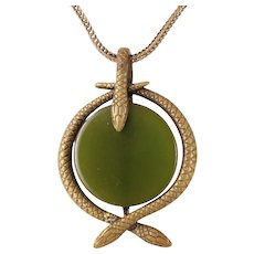 Brass Snake Green Bakelite Necklace