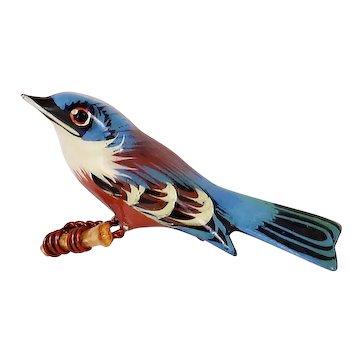 Takahashi Eastern Bluebird Vintage Wood Pin
