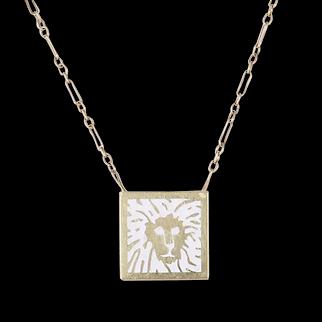 Anne Klein 14k Yellow Gold and Enamel Lion Logo Vintage Pendant Necklace