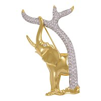 Vintage Signed SWAROVSKI Swan Logo Rhinestone Elephant Figural Brooch/Pin
