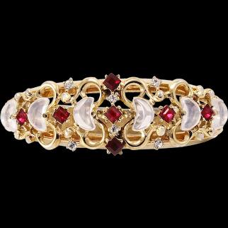 Trifari Alfred Phillipe Clair de Lune Moonstone Rhinestone Bracelet