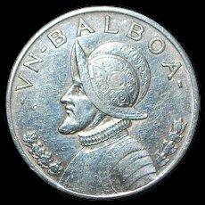 Very Fine Panama Silver One Balboa Coin - 1934