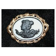 10K  Silhouette Cameo Brooch, 1920's