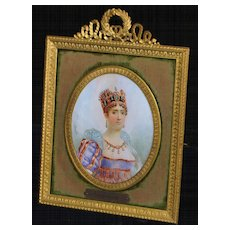 Early French Miniature Portrait  of Empress Josephine,Framed - Red Tag Sale Item