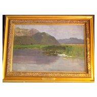 "German  ""Lake Landscape"" Painting - Scherbring (1859-1899)"