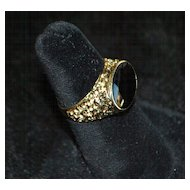 14K Man's Black Onyx Signet Ring - 1970's