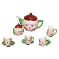 1920's Miniature  Doll Tea  Set  with  Hand Painted Faces