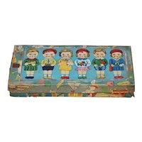 Six All Bisque  Dolls Set w/ Original Box