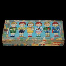 Six All Bisque  Dolls Set w/ Original Box