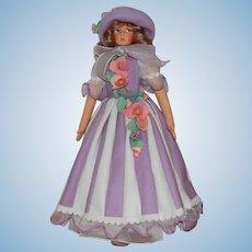 "Vintage 23"" Anili Felt Doll in Lavender Dress & Hat,"