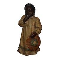 Goldscheider Terracotta Figurine Young Black Girl w/ Hat