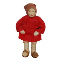 1920s labeled Soviet Union, stockinette Russian cloth doll