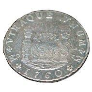 Spain Carolus III Silver 8 Reales Pillar Coin - 1760
