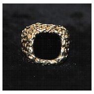 14K Heavy Black Onyx and Gold Signet Ring