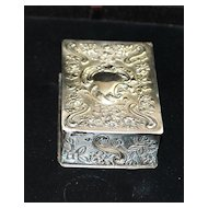 Fancy English Victorian Sterling Silver Match  Box, c. 1890