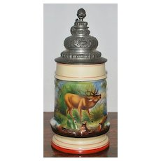 German Porcelain Lithophane Relief 1/2 Liter Stein, c. 1890