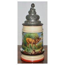 German Porcelain Lithophane Relief 1/2 Liter Stein, c. 1890