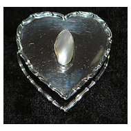 English Heart Shape Sterling and Pearl Trinket Box, 1905