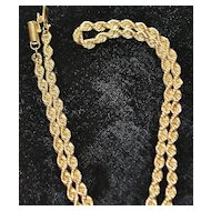 14K Gold Rope Necklace, 1980's
