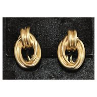 Pair of 14K Retro Heavy Knot Earrings, 1960's