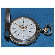 """Swiss Sterling""""Lady Racine"""" Lapel Watch, c. 1885"""
