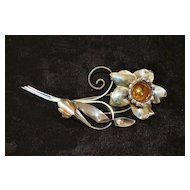 Large Sterling  Silver  Floral  Brooch - 1940's