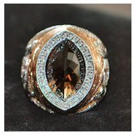 14K r/g Large Cognac Quartz & Diamond Cocktail Ring