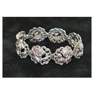 "Italian Flli Peruzzi Sterling ""Rose"" Bracelet, 1920's"