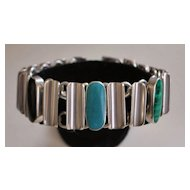 Heavy Sterling Silver Inlaid Mexican Stone Bracelet - 1980's