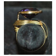 14K Modernist Design  Amethyst Ring, 1960's - Red Tag Sale Item