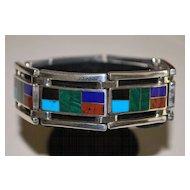 Fine Colorful 950 Silver Multi-Stone Inlaid Bracelet - 1980's