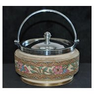 English Victorian Tapestry Ware Covered  Pot,c.1890