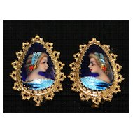 Pair of 14K gold French Limoges Enamel Earrings - 1970's