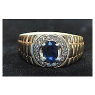 14K Man's Sapphire and Diamond Ring, 1980's