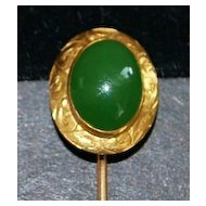 14K 3ct Jade and Gold Stick Pin