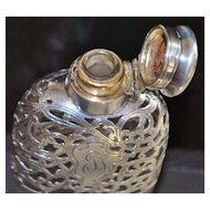 Gorham Sterling Overlay Pocket Flask, 1898