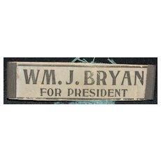 Wm Jennings Bryan for President Button - 1896