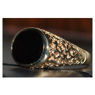 14k Man's Black Onyx  Signet Ring - 1950's