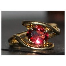 14K Modernist Red Tourmaline Ring - 1970's