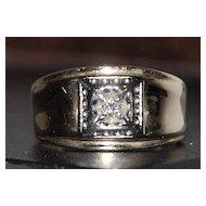 10K Man's Diamond Ring - 1940's