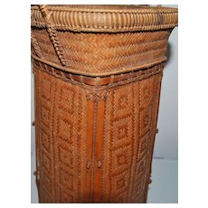 Japanese Kyoto Bamboo Ikebana Basket - 1895