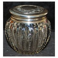 Sterling Silver  and Cut Glass Vanity Jar - 1900