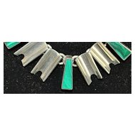 Heavy Malachite and Sterling Silver Necklace - 1980's