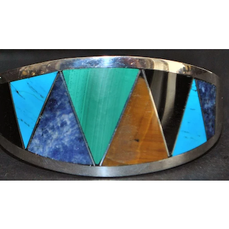 Mexican 950 Silver Multi-stone Inlaid Bracelet - 1980's