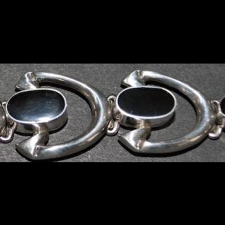 Sterling Silver Stirrup Style Onyx Bracelet - 1980's